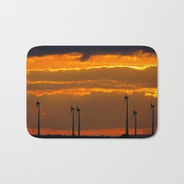 MM - Wind turbines in the sunset Bath Mat