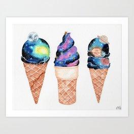 """""""Cosmic Cones"""" watercolor galaxy illustration Art Print"""