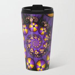 Playful Fractals Fun,  Modern Purple Yellow Spirals Travel Mug