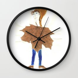 leaf lady Wall Clock