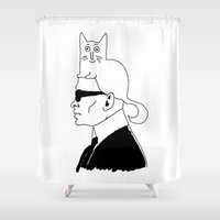 karl Shower Curtains featuring Karl & Choupette by cvrcak