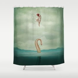 uncontained Shower Curtain