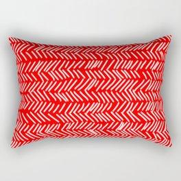 Scarlet Herringbone Lines Rectangular Pillow