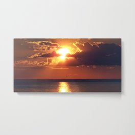 Flaming sky over Sea - Nature at its best Metal Print
