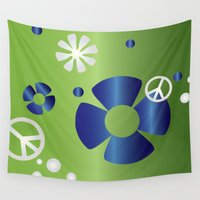 hippie Wall Tapestries featuring GREEDY HIPPIE by Erin Thomas