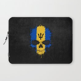 Flag of Barbados on a Chaotic Splatter Skull Laptop Sleeve