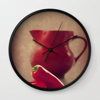 moulin rouge Wall Clocks featuring Rouge by Tanja Riedel