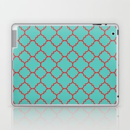Quatrefoil - Turquoise & Red Laptop & iPad Skin