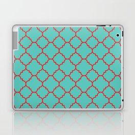 Quatrefoil - Turquoise & Red Laptop & iPad Skin