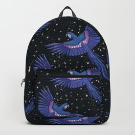 Hyacinth blue macaw parrots on the starry night sky Backpack