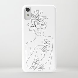 Minimal Line Art Woman with Flowers IV iPhone Case