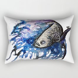 Galaxy Betta Fish Watercolor Rectangular Pillow