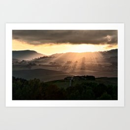 Sunset in Val d'Orcia, Tuscany Italy Art Print