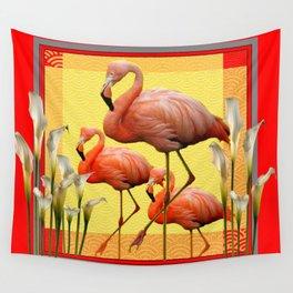 SURREAL FLAMINGOS CALLA LILIES RED ART Wall Tapestry
