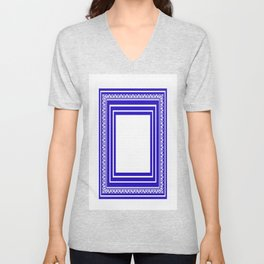 Blue and White Lines Geometric Abstract Pattern Unisex V-Neck