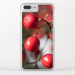 Red Winter Berries, Christmas Cranberries Clear iPhone Case