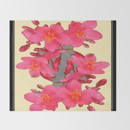 BLACK-PINK FLOWER BLOSSOMS YELLOW SPRING ART Throw Blanket