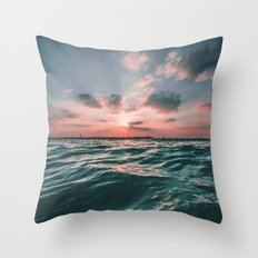 Deep Green Float Throw Pillow