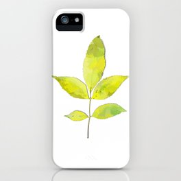 leaves painted with watercolor . designer paintings for eco-style . eco style interior . Sustainable iPhone Case