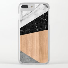 Marble, Garnite, Teak Wood Abstract Clear iPhone Case