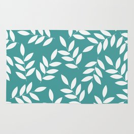 Turquoise leaves Rug