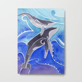 Polynesian humpback whale and calf Metal Print