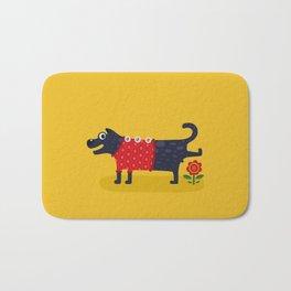 Cute Dog Pissing Illustration Bath Mat