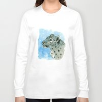 snow leopard Long Sleeve T-shirts featuring Snow Leopard & snowflakes 860 by S-Schukina
