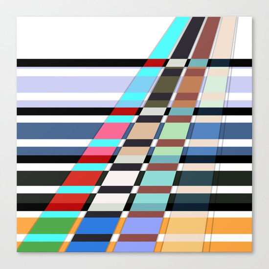 Colorful oblique lines . Abstract pattern 2 . Canvas Print