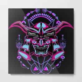 Onuki Neon Samurai Japanese Warrior Metal Print