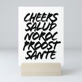 Cheers Salud Noroc Proost Sante Grunge Caps Mini Art Print