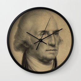 Vintage George Washington Portrait Illustration Wall Clock