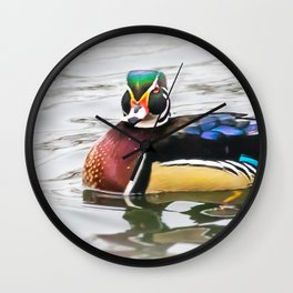 Wood Duck Two Wall Clock