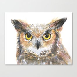 Owl Great Horned Owl Watercolor Canvas Print