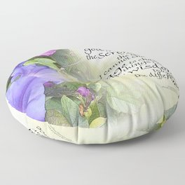 Serenity Prayer Morning Glories Glow Floor Pillow