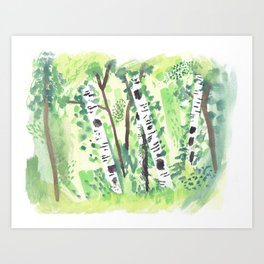 Birch Trees Watercolor Painting Art Print