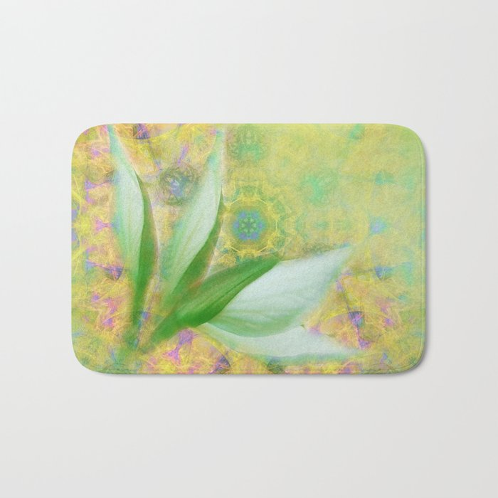 Bauhinia buds against textured green background Bath Mat