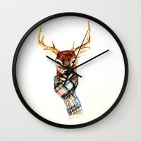 craftberrybush Wall Clocks featuring Deer buck with winter scarf - watercolor by craftberrybush