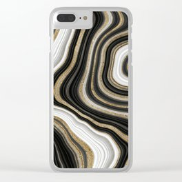 Gold And Black Agate Gemstone Clear iPhone Case