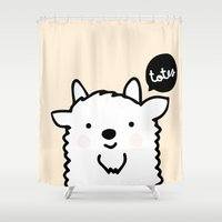 totes Shower Curtains featuring Totes Ma Goats by catplusmouse