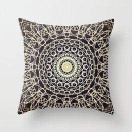 Brushed Bronze Mandala Design Throw Pillow