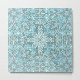 Soft Teal Blue & Grey hand drawn floral pattern Metal Print
