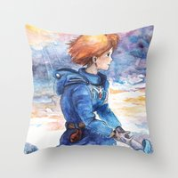 nausicaa Throw Pillows featuring The cloudy Sky in the Valley by LucioL