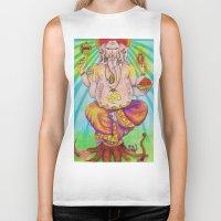 ganesha Biker Tanks featuring Ganesha by Lioz