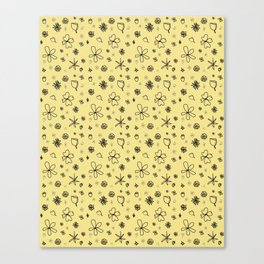 Vintage Inspired Canary Yellow Floral Pattern Canvas Print