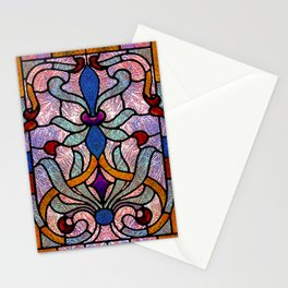 Art Nouveau Stain Glass Victorian Pastel Design Stationery Cards