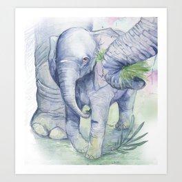 illustration of baby elephant Art Print
