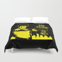 taxi driver Duvet Covers featuring Taxi driver art by Buby87