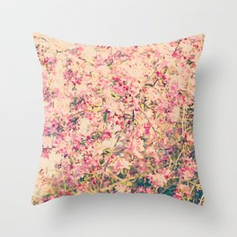 Vintage Pink Crabapple Tree Blossoms in the Sun Throw Pillow
