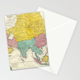 Vintage Map Print - 1730 Map of Asia Stationery Cards